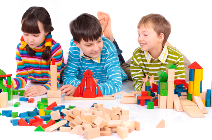 Kids playing with blocks