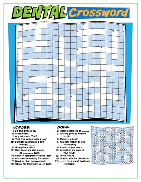 Dental Crossword Puzzle Activity Sheet - Pediatric Dentist in Temple, TX