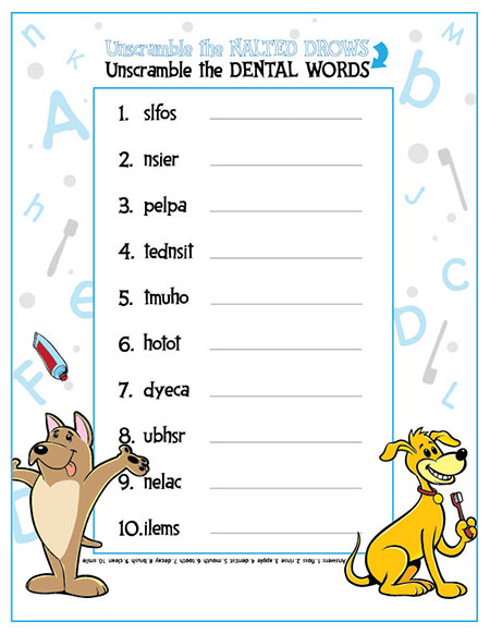 Unscramble the Dental Words Activity Sheet - Pediatric Dentist in Temple, TX